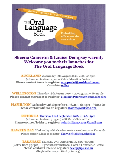 The Oral Language Book launch flyer